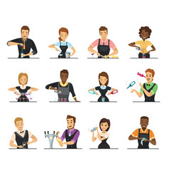 set of cartoon bartender characters vector image