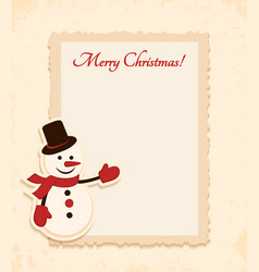 Congratulation gold retro background with snowman vector