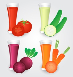 Glasses of veggies juice isolated on background vector