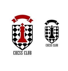 Chess emblem with king on checkered shield vector