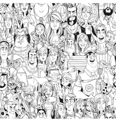 Seamless pattern from crowd of people with vector