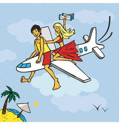 Flying on plane to beach vector