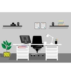 Creative office desktop workspace mock up vector