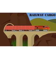 Freight railroad train over the bridge vector