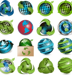 sixteen icons of the globe on white background vector image