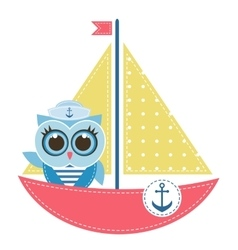 Owl sailor on the boat vector