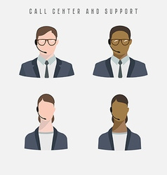 Set of icons male and female call center avatars vector