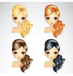Set of fashion wave hair styling vector
