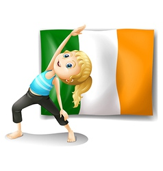 A girl and the flag of Ireland vector image vector image