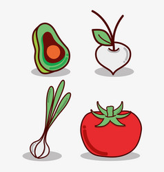 Avocado onion garlic and tomato food vector