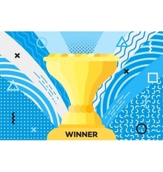 Award placard with trophy cup for winner hipster vector