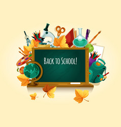 back to school chalked text on blackboard vector image