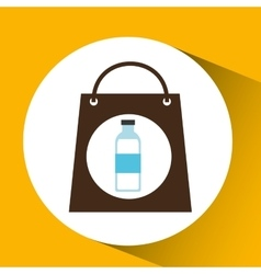 Bag shopping water bottle icon vector