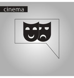 Black and white style icon theater masks vector