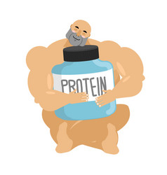 Bodybuilder and protein container athlete and vector