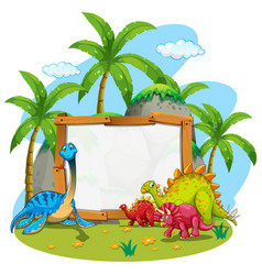 border template with cute dinosaurs vector image vector image