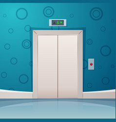 cartoon elevator with red button vector image vector image