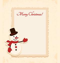 Congratulation gold retro background with snowman vector
