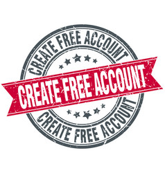 Create free account red round stamp vector