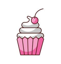 cupcake cherry and icing bakery pastry food fresh vector image
