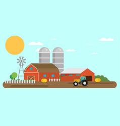 Flat design crop farm rural landscape background vector