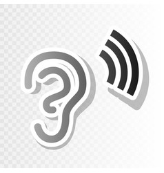 Human ear sign new year blackish icon on vector