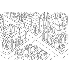 Intersection of the big city sketch skyscrapers vector