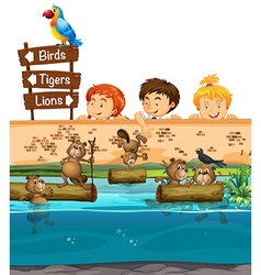 Kids looing at beavers in the zoo vector