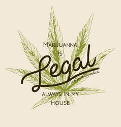 Legal marijuana weed cannabis green leaf retro vector