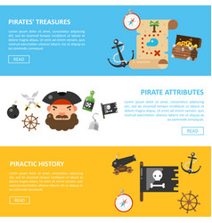 Pirate treasures and sea adventures banners vector