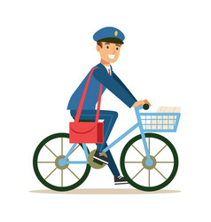 Postman in blue uniform on a bicycle delivering vector