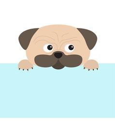 Pug dog mops and paw Cute cartoon character Flat vector image