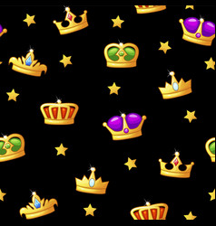 seamless pattern with king crown icons assets for vector image
