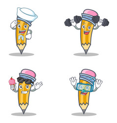 Set of pencil character with sailor fitness ice vector
