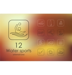 Set of water sports icons vector image vector image