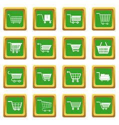 Shopping cart icons set green vector