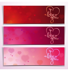 Three I Love You Banners Red Pink vector image vector image