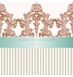 Vintage baroque damask invitation card vector