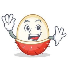 Waving rambutan character cartoon style vector