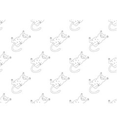white cute cat laying on back seamless background vector image