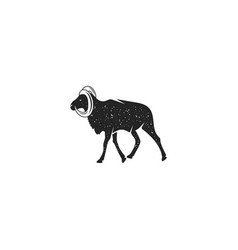 Wild goat silhouette shape vintage hand drawn vector