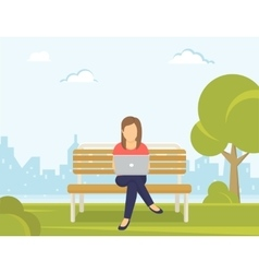 Young woman sitting in the park on the bench and vector image vector image