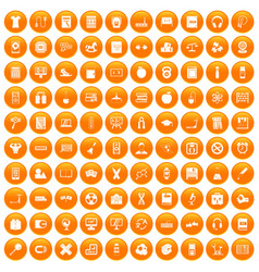 100 learning kids icons set orange vector image vector image
