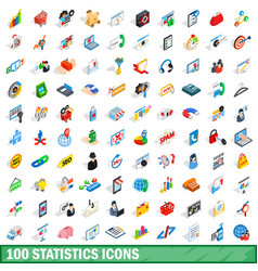 100 statistics icons set isometric 3d style vector image vector image