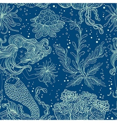 Mermaid marine plants corals and seaweed vector