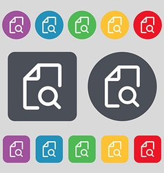 Search documents icon sign a set of 12 colored vector