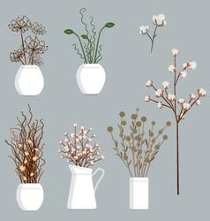 Dried flowers set vector