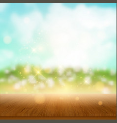 Wooden table looking out to summer landscape vector