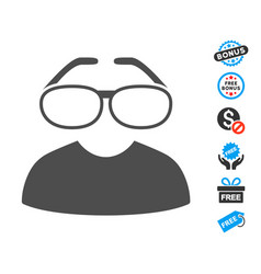 Clever spectacles flat icon with free bonus vector