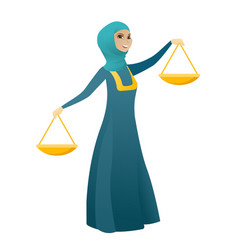 Muslim business woman holding balance scale vector